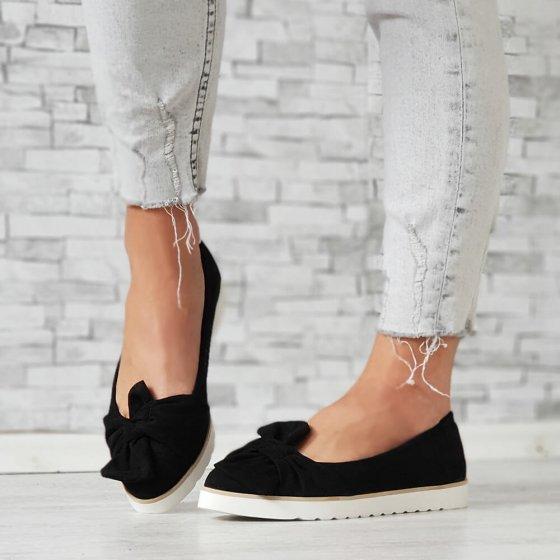 Cipele niske s mašnom crne