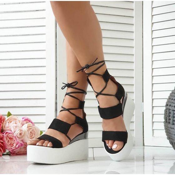 Sandale Perla crne brušene