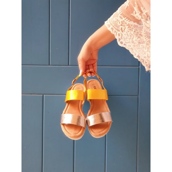 Sandale Lorena žuto srebrne