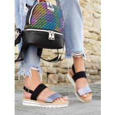 Sandale Lorena crno srebrne