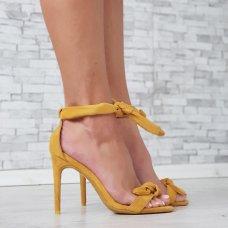 Sandale na visoku petu žute